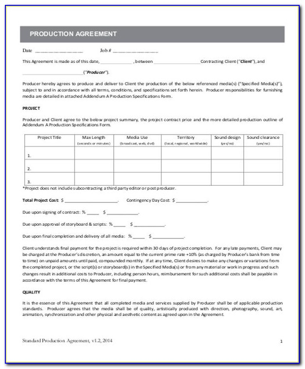 Music Producer Contract Template Pdf