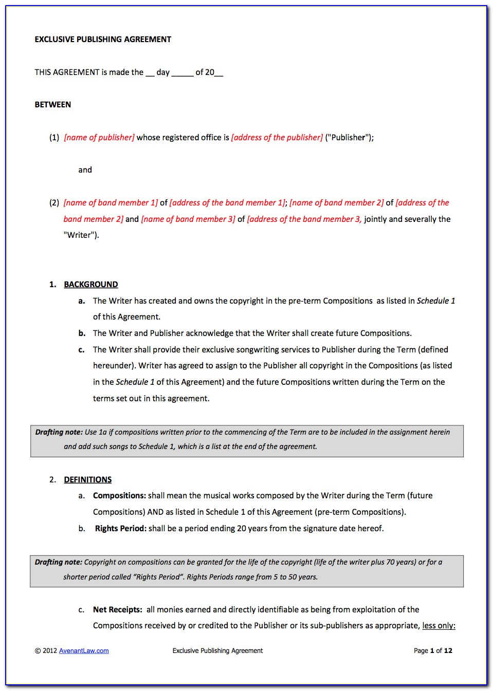 Music Producer Contract Template
