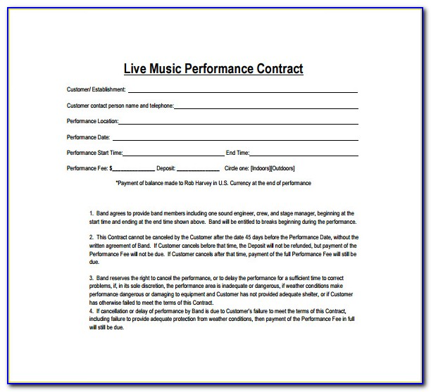 Musicians Union Contract Template