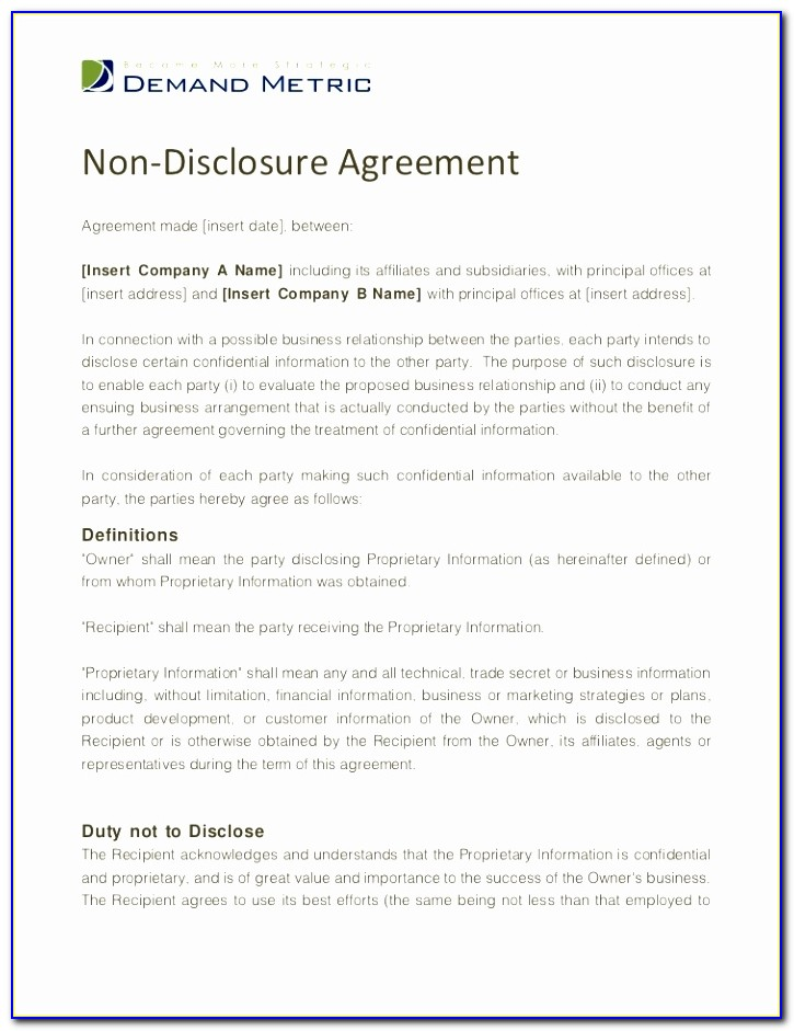 Non Disclosure Agreement Template Simple Non Disclosure Non Circumvention Agreement Template Best Of Pdf Word Excel Download Templates Upuae