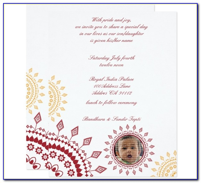 Naming Ceremony Invitation Template Indian