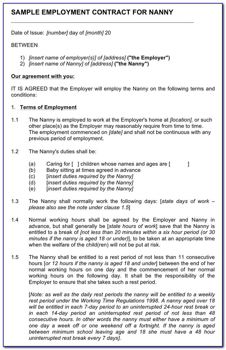 Nanny Contract Template Download Free Premium Forms On Sample Nanny