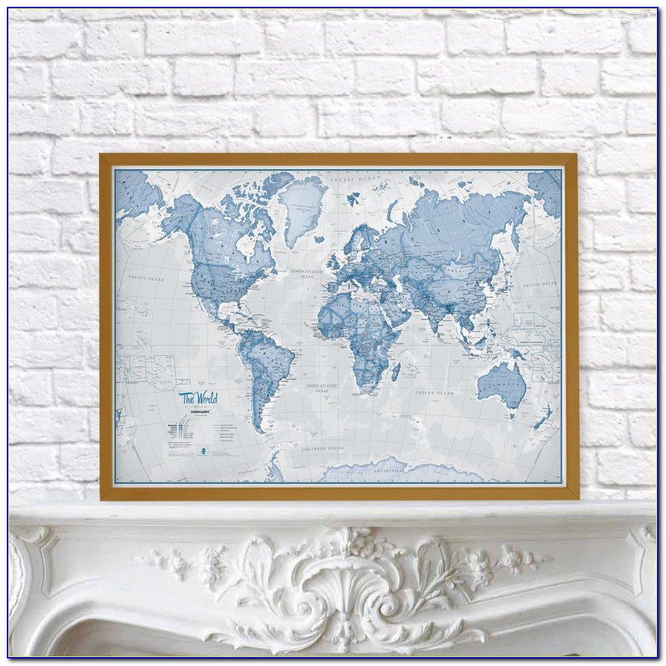 National Geographic Antique World Pinboard Map Wood Framed With Flag Pins