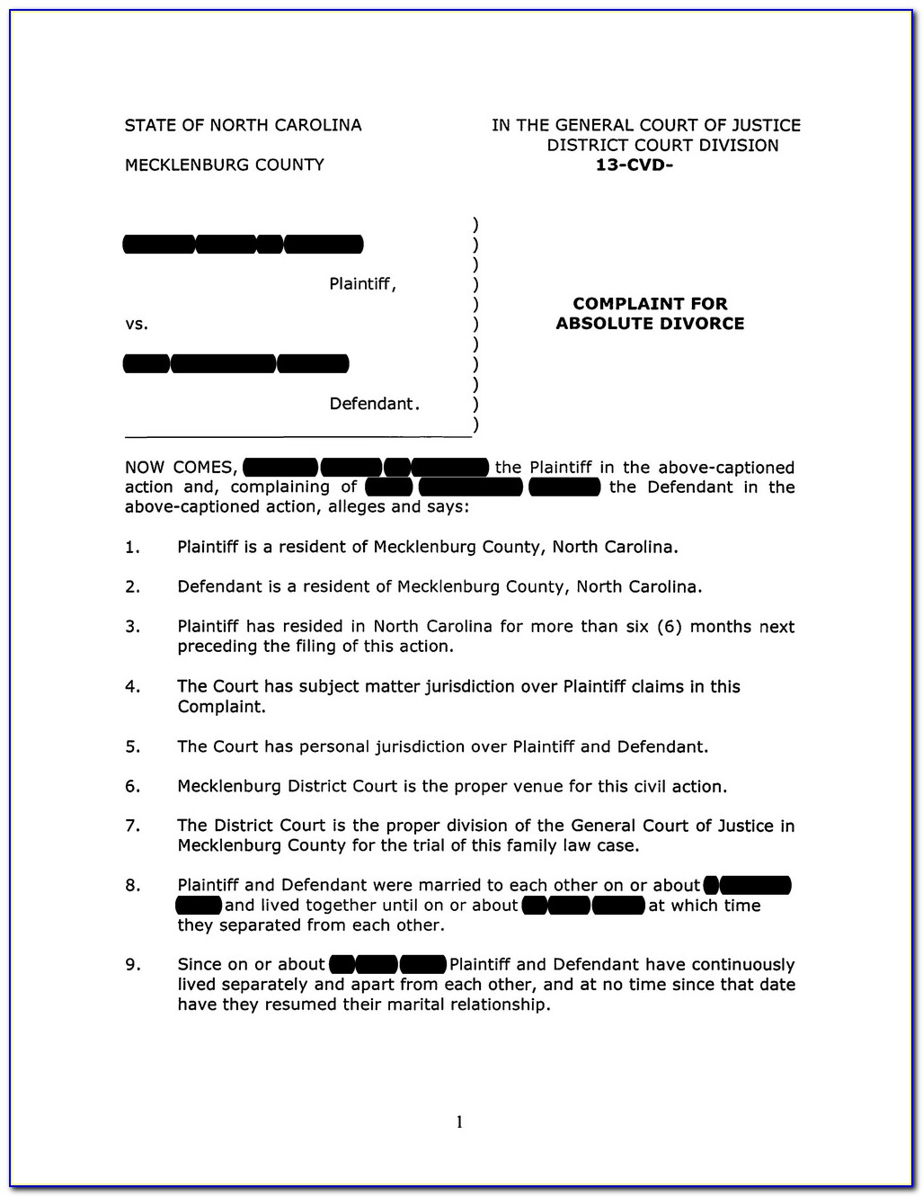Nc Judgment Absolute Divorce Form