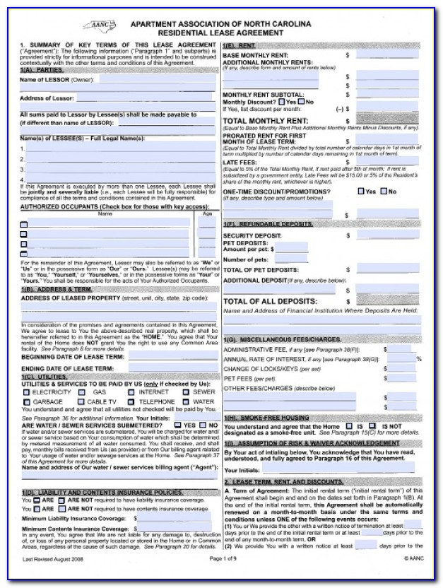 Nc Residential Rental Contract Form 410 T 2018
