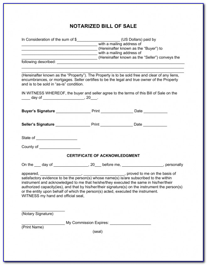 Free Notarized Bill Of Sale Form Pdf Word Eforms – Free Within Nc Notary Forms