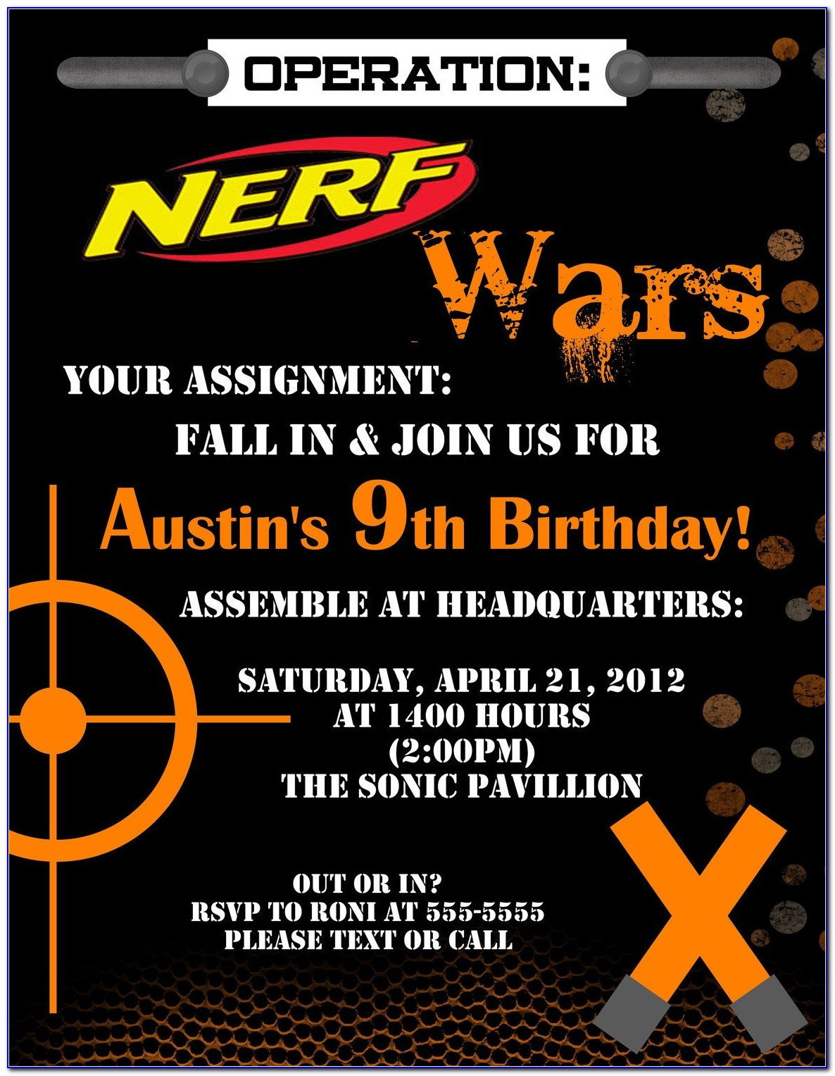 Nerf Gun Invitations Templates