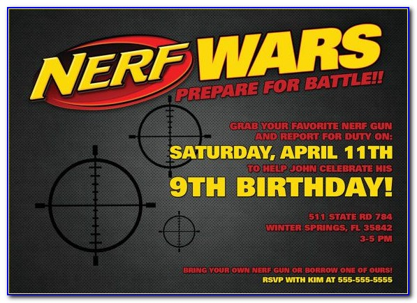 Nerf Gun Party Invitations Template Free