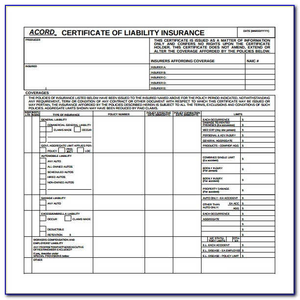 New Acord Certificate Of Insurance Form