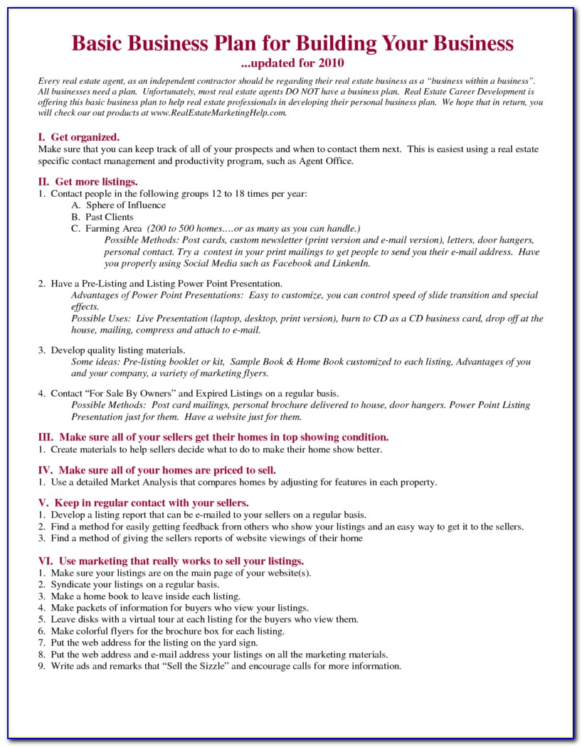 New Real Estate Agent Business Plan Template Free