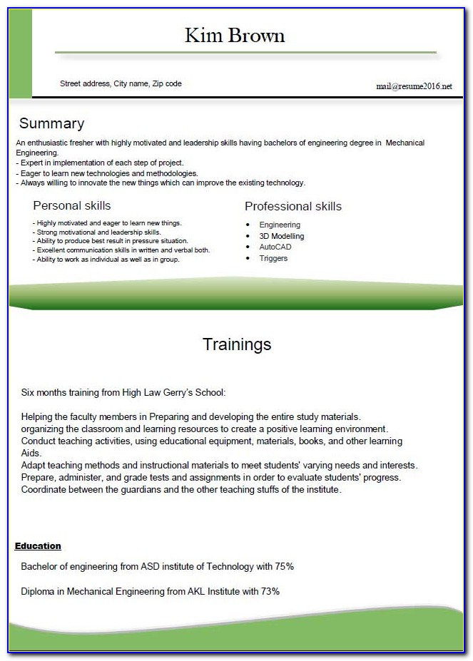 New Resume Format For Freshers Pdf