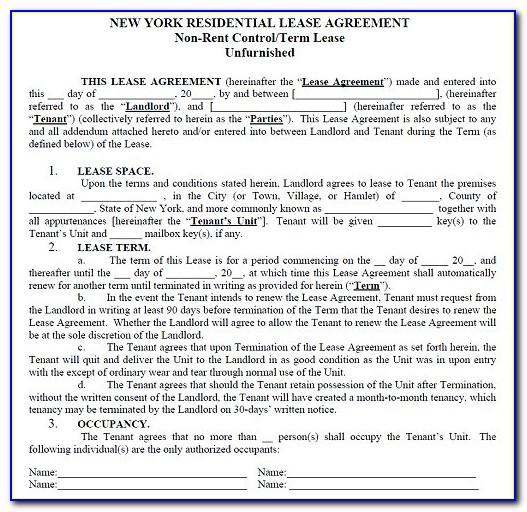 New York City Residential Lease Agreement Form Pdf
