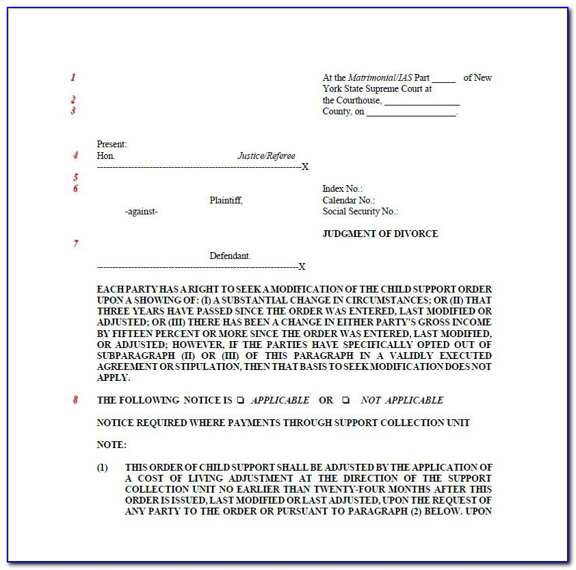 New York State Court Divorce Forms