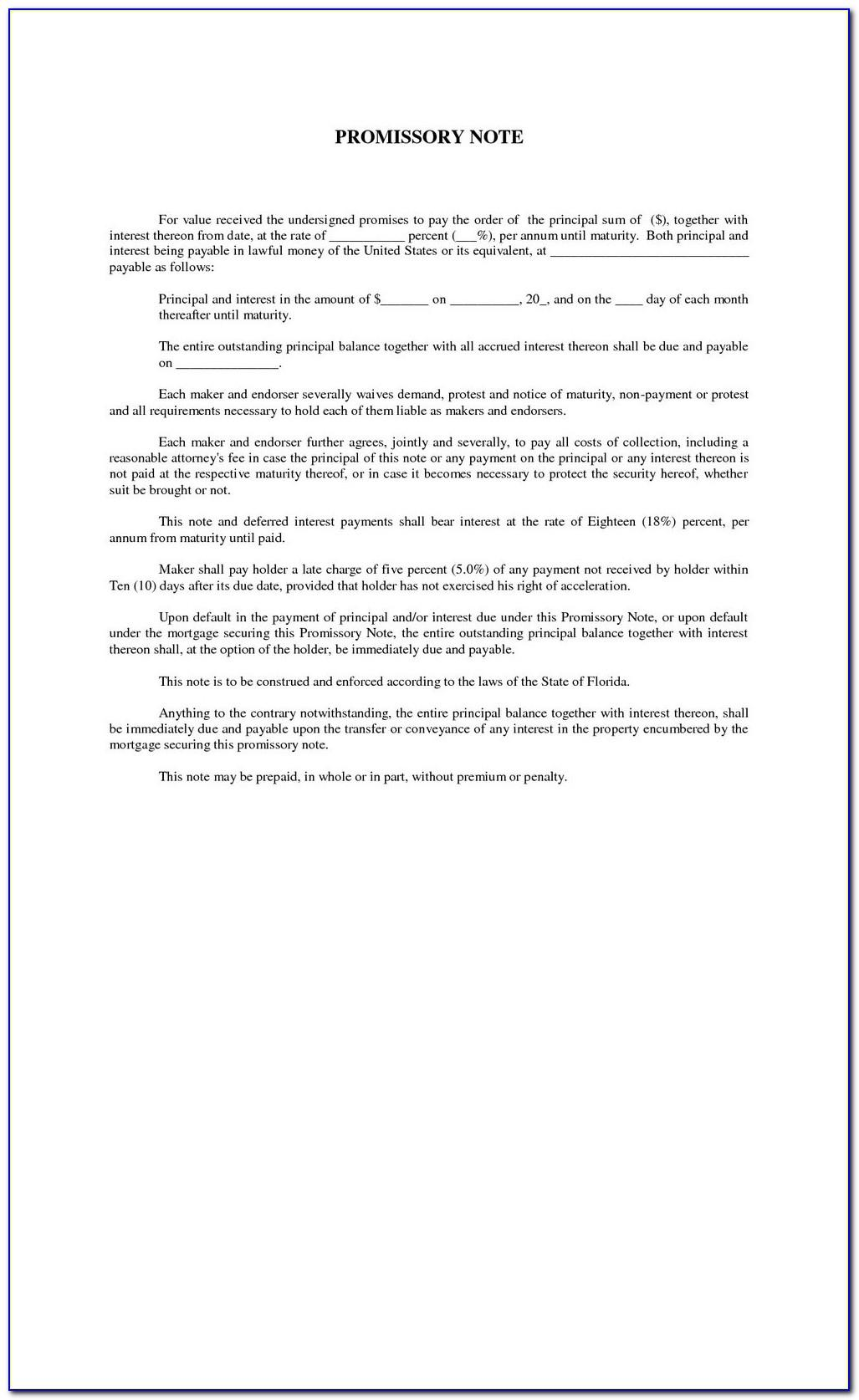New York State Promissory Note Template