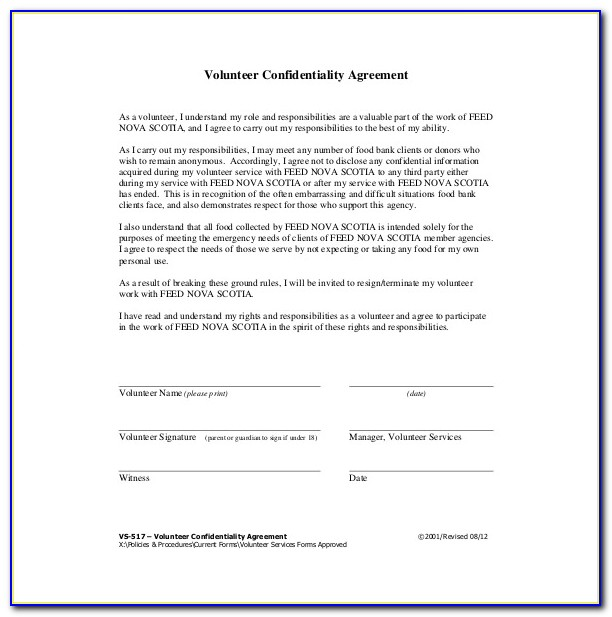 Non Disclosure Agreement Free Template South Africa