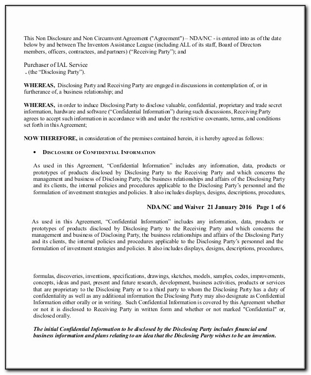 Non Disclosure Non Circumvention Agreement Template Inspirational Sample Non Disclosure Agreement In Pdf 10 Examples In Pdf