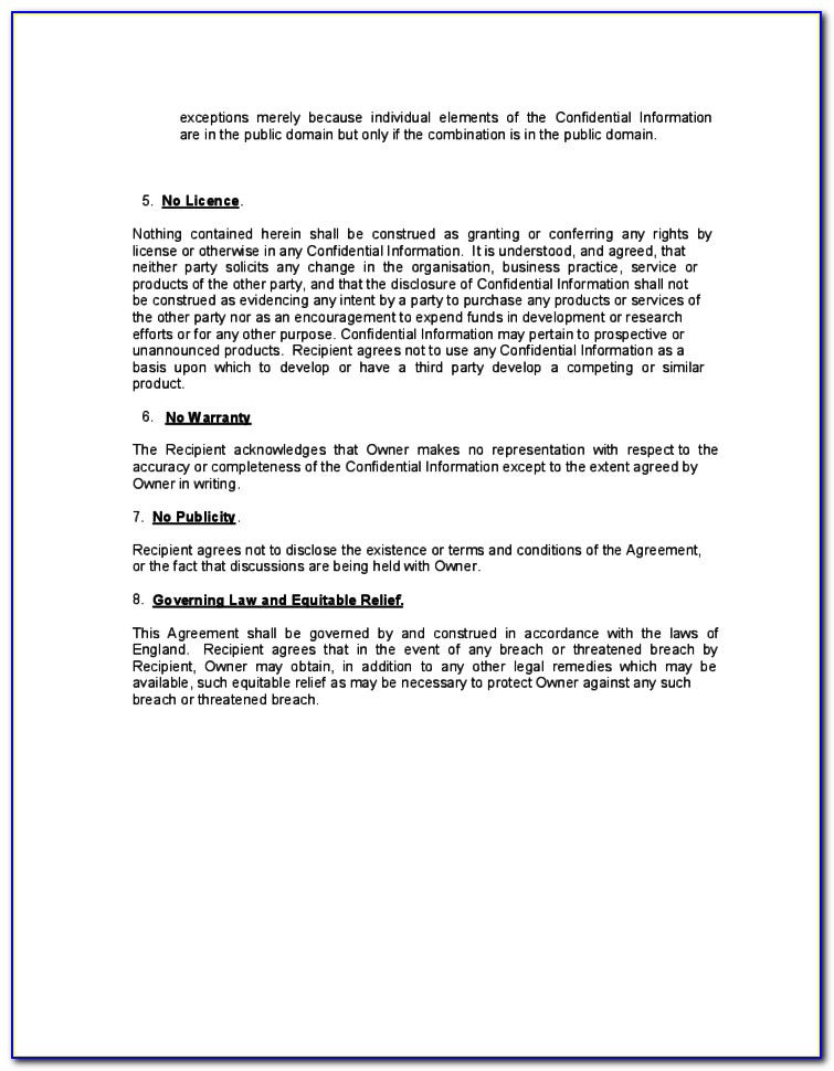 Non Disclosure Non Compete Agreement Template Doc