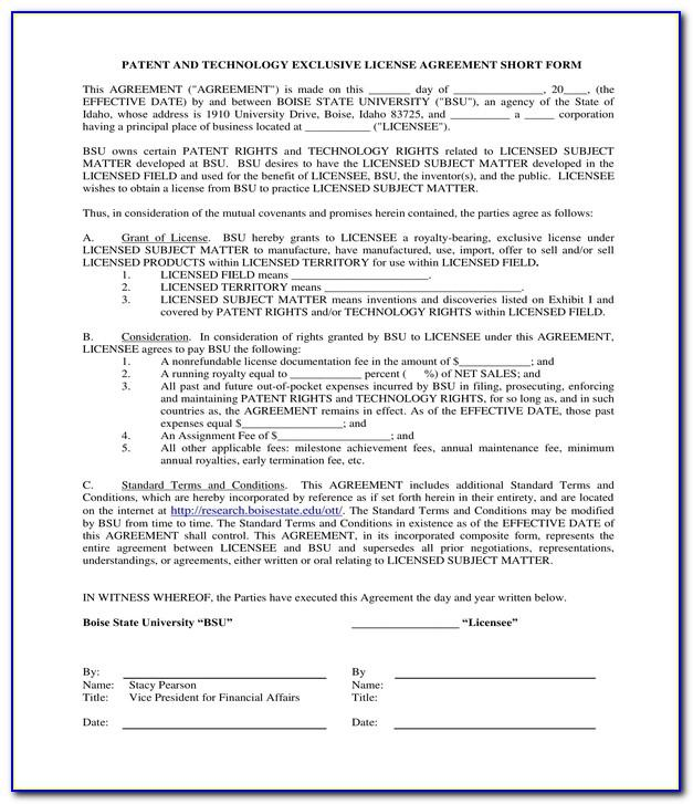 Non Exclusive Patent License Agreement Template