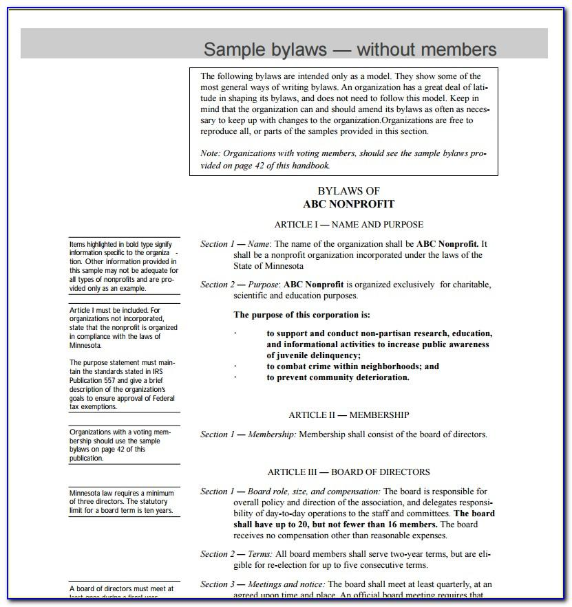 Non Profit Bylaws Template Free