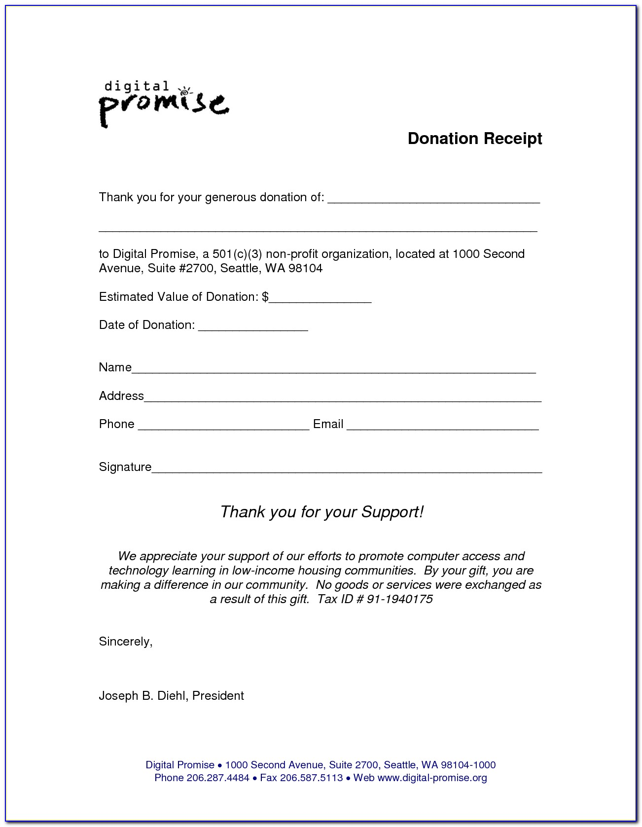 Non Profit Donation Receipt Example