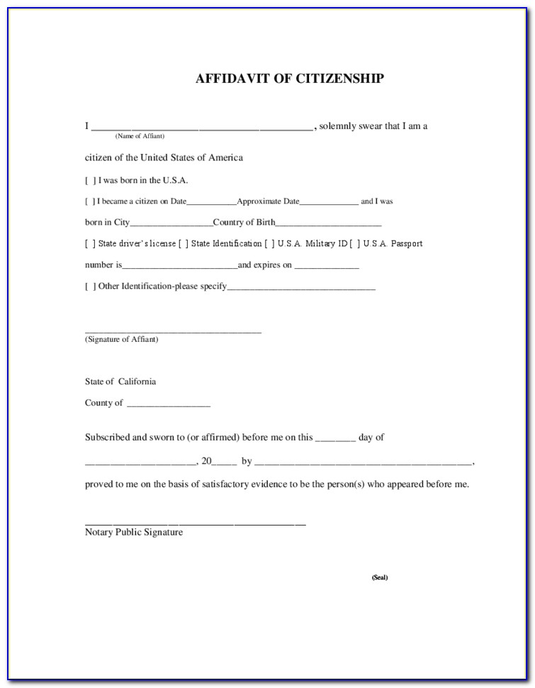 Notary Acknowledgment Form California