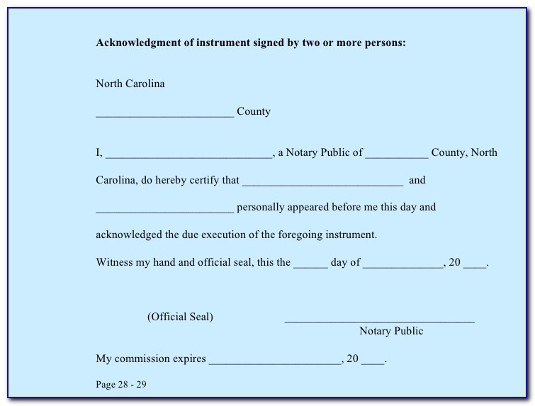 Notary Certificate Nc