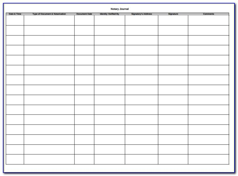 Notary Journal Template Excel
