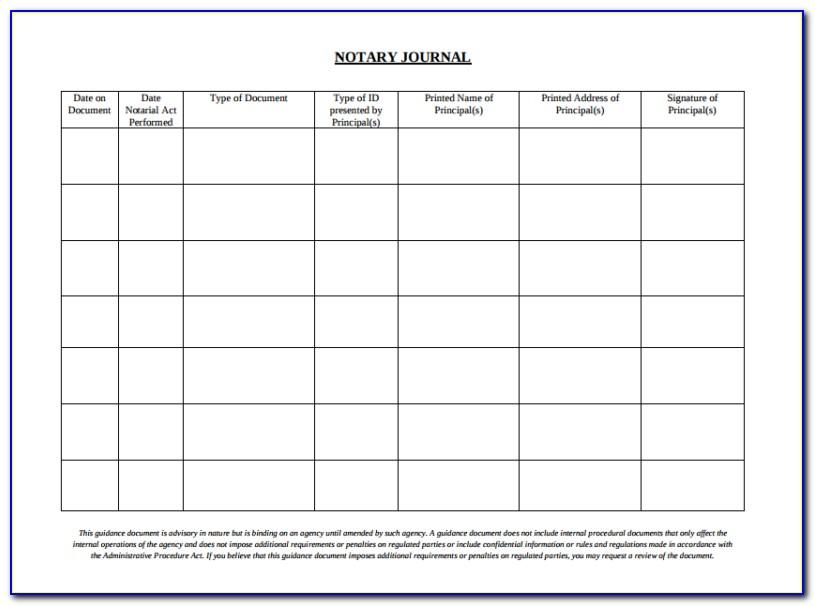 Notary Public Journal Template Free