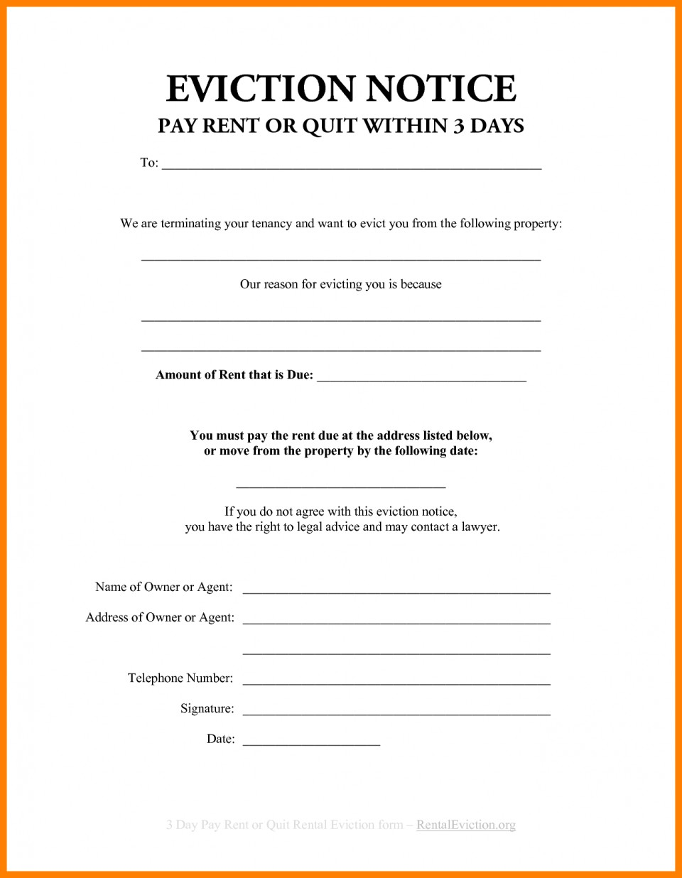 Notice Of Eviction Template Nsw