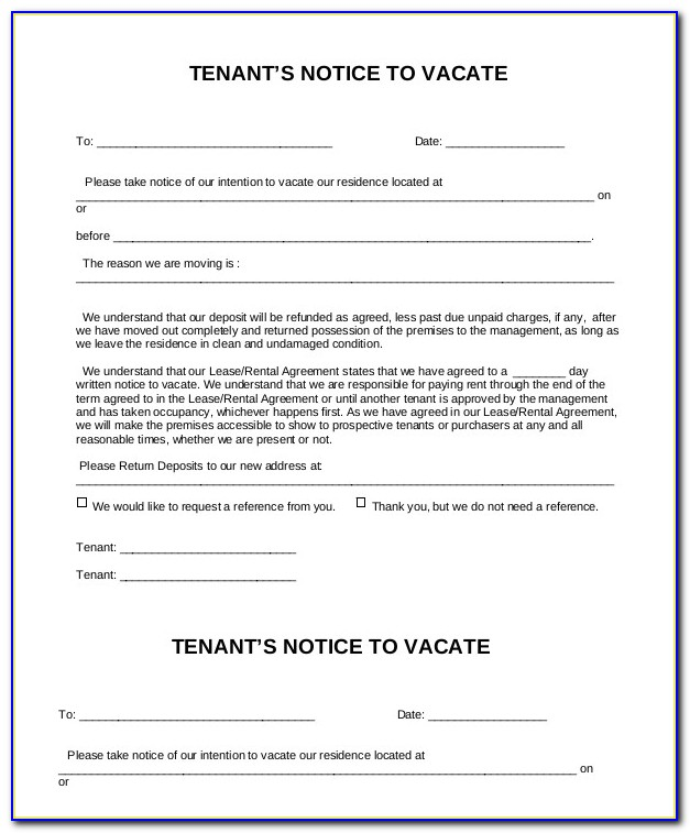 Notice To Vacate Premises By Landlord Template