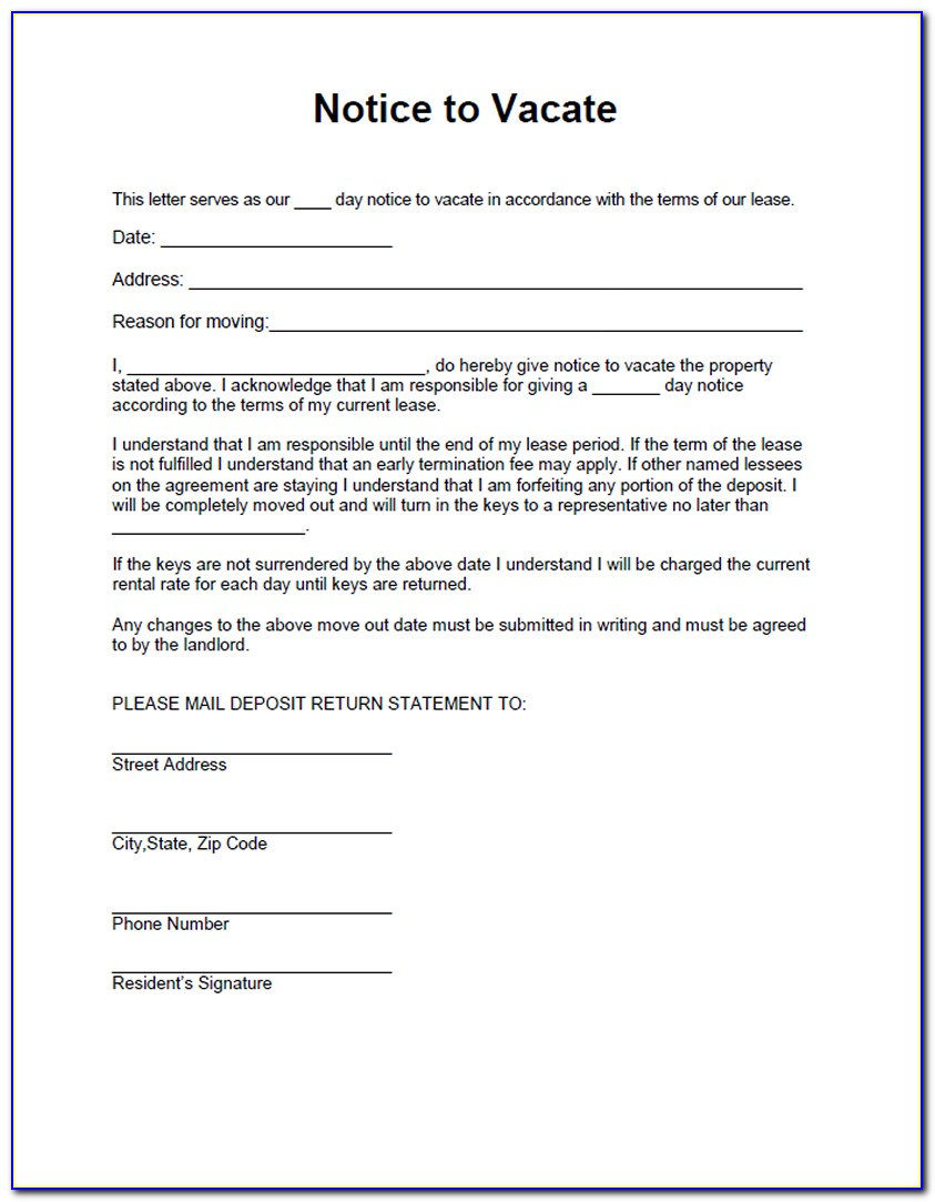 Notice To Vacate Premises By Tenant Template   vincegray30
