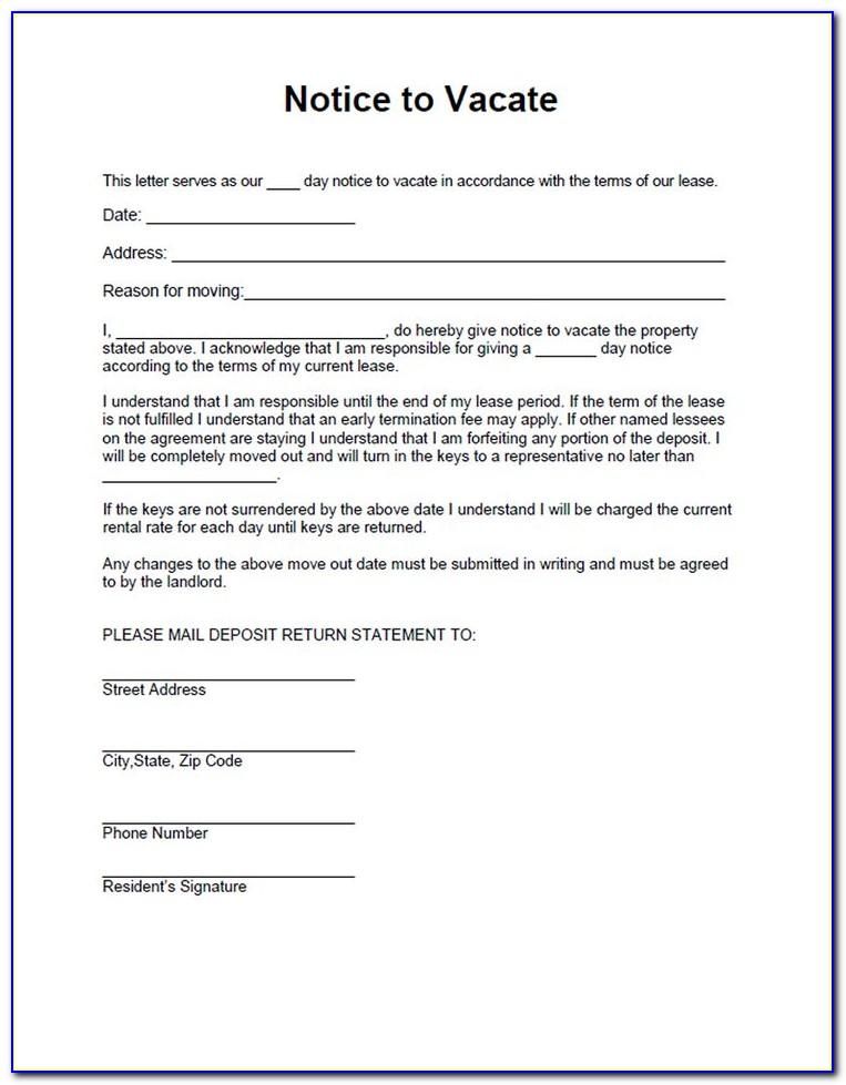 Notice To Vacate Template Free
