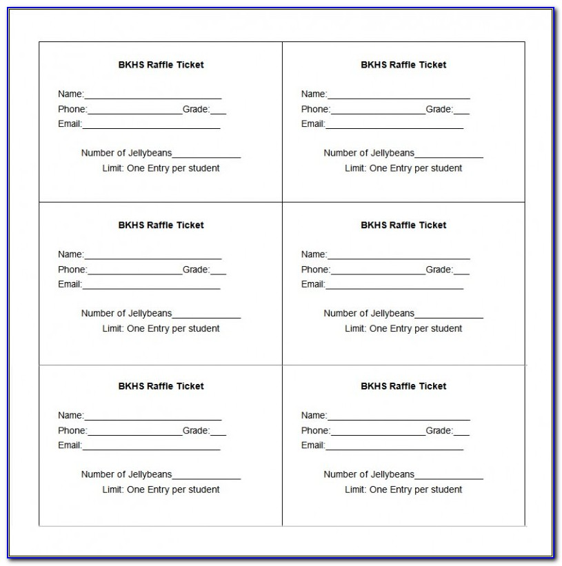 Numbered Ticket Template Word Free