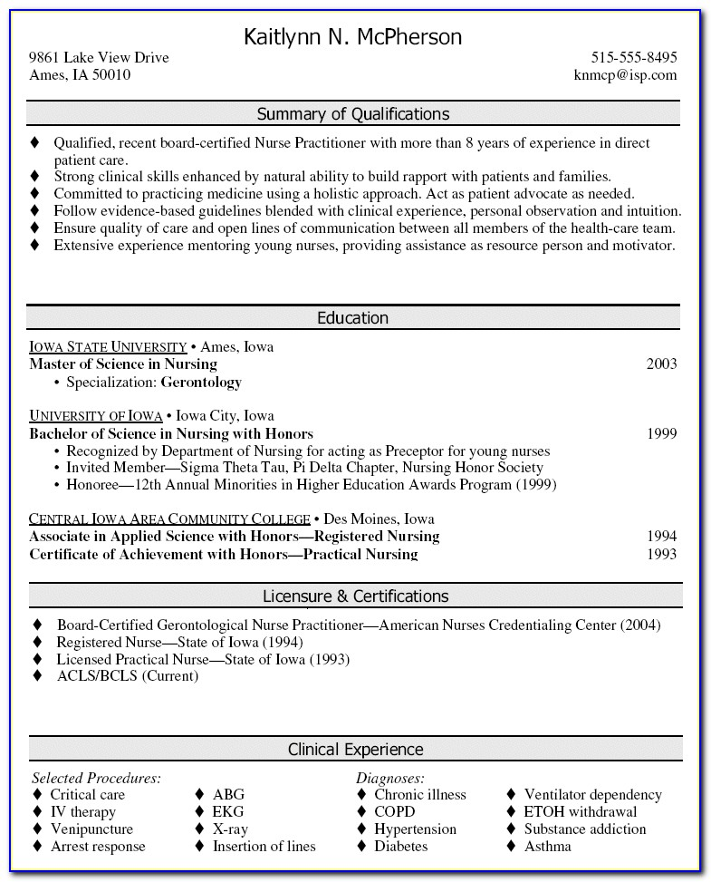 Nurse Practitioner Cv Template