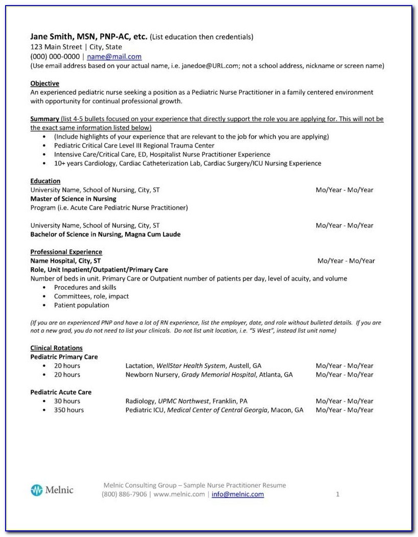 Nurse Practitioner Resume Template Free