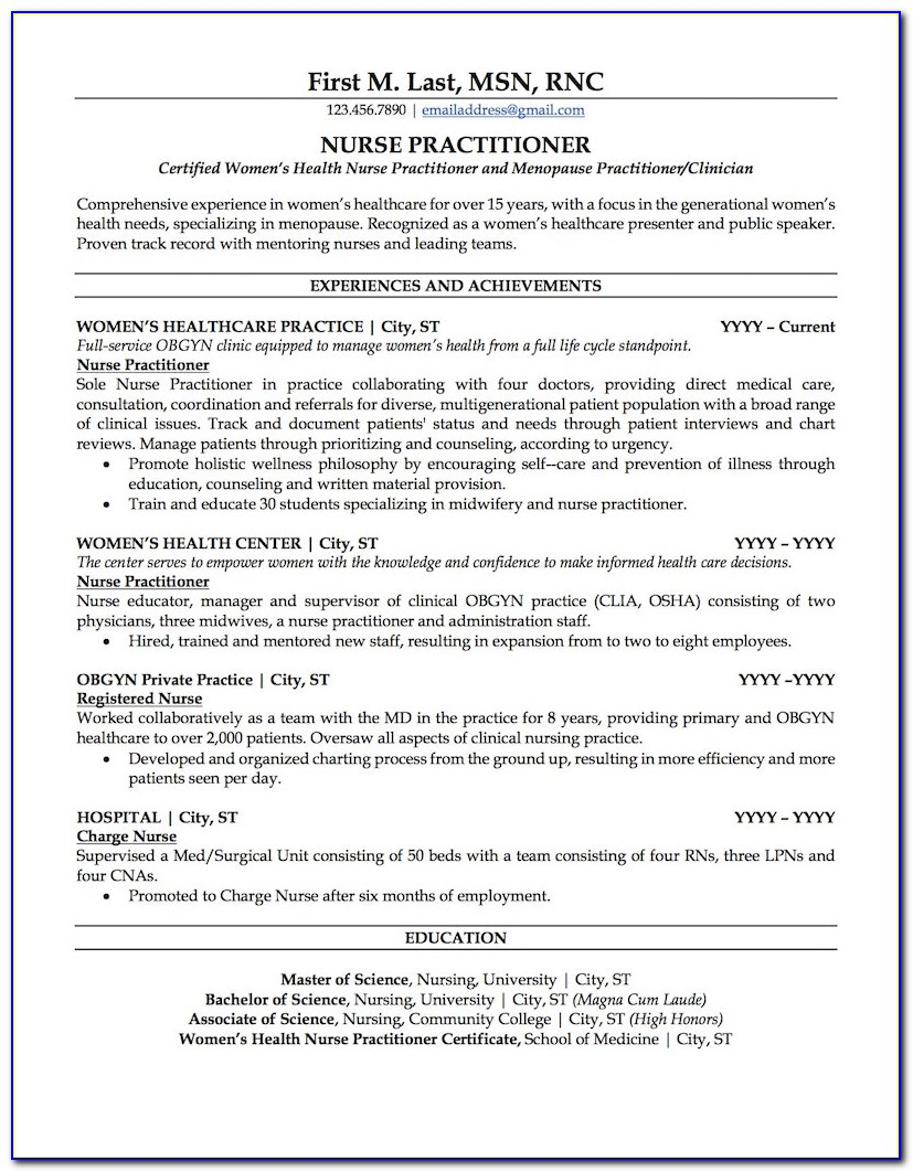 Nurse Practitioner Resume Template