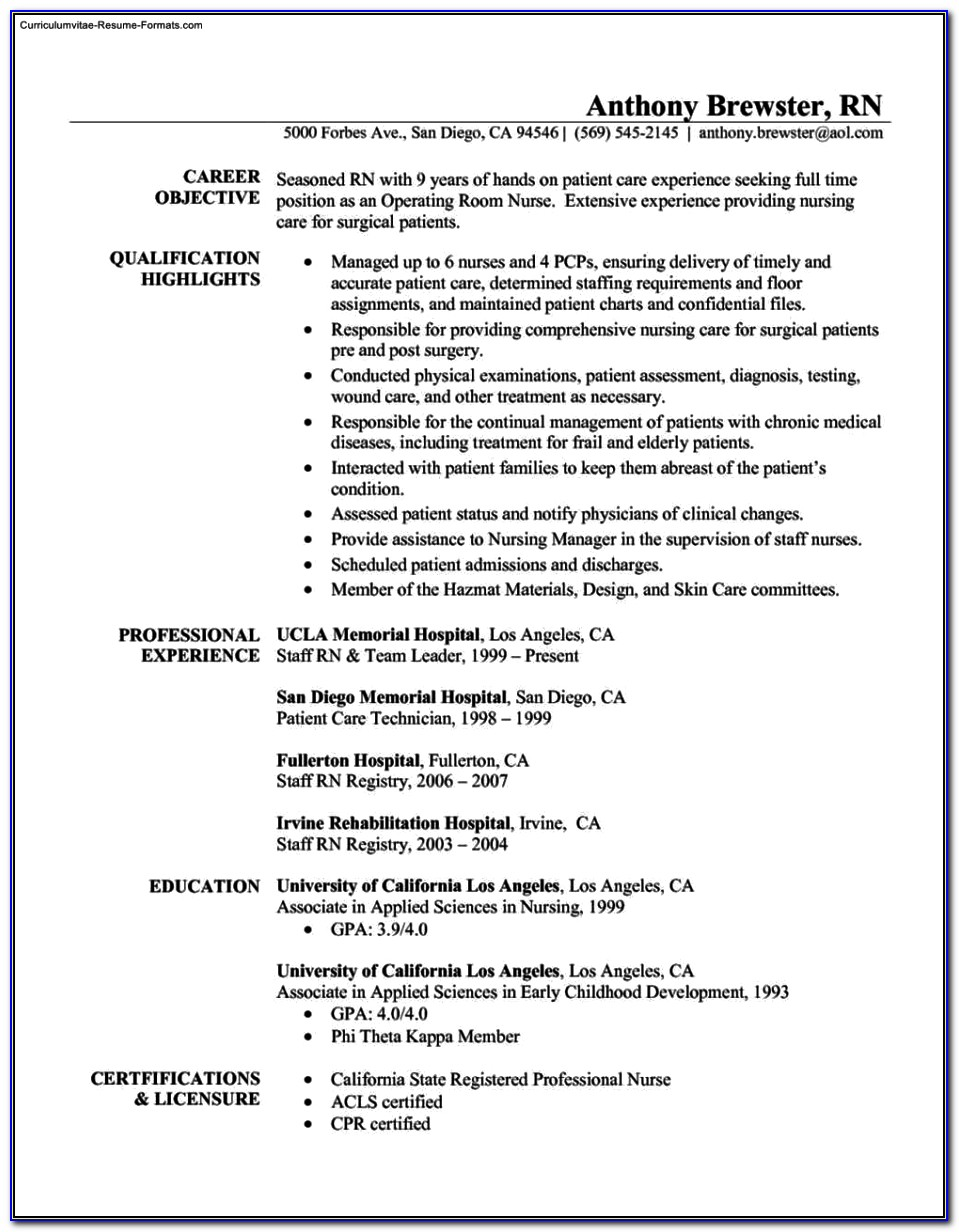 Registered Nurse Resume Templates Free Vincegray2014
