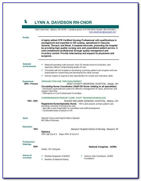 Nurse Resume Template Free Download
