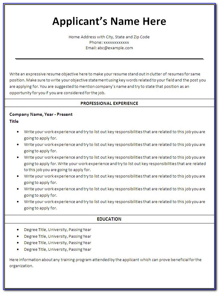 Nurse Resume Templates Microsoft Word