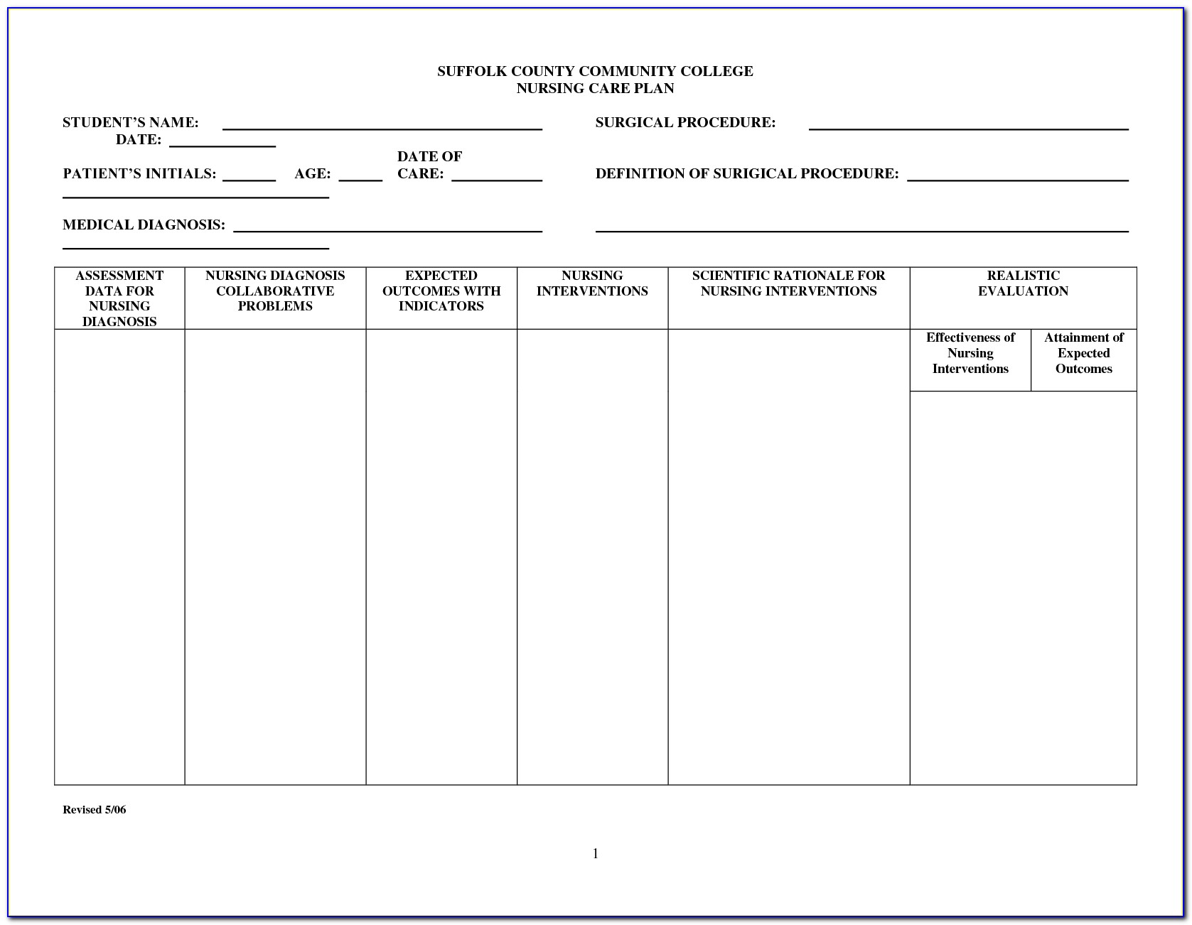 Nursing Care Plans Templates