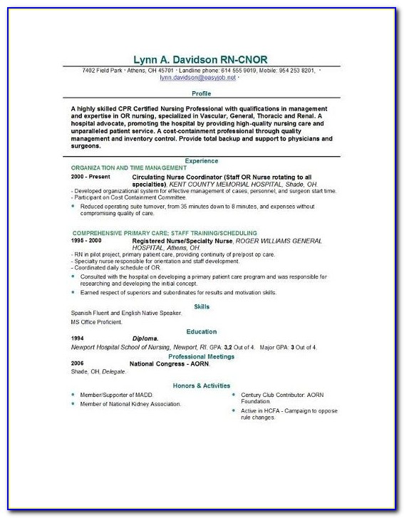 Example Nursing Resume | Resume Format Download Pdf In Nursing School Application Resume