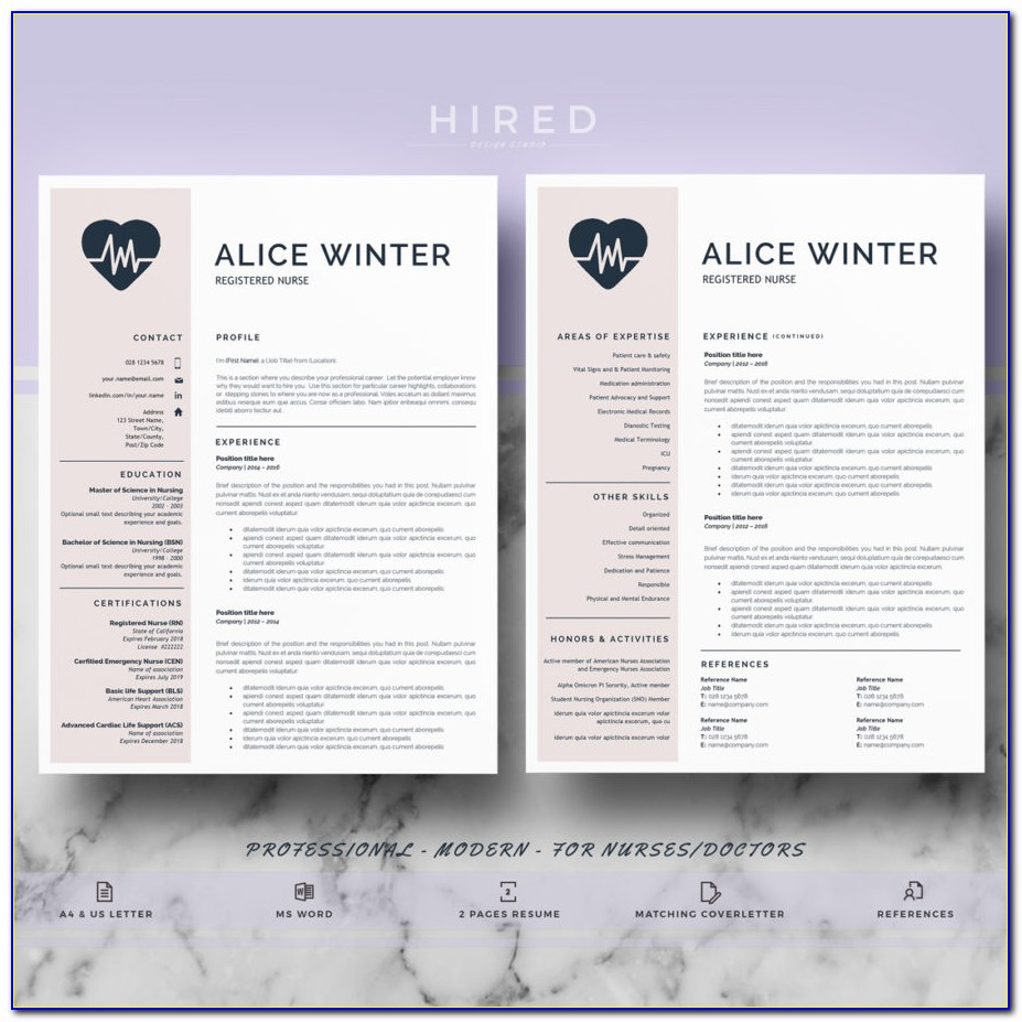 Nurse Resume Template | Rn Nurse Resume | Nurse Cv, Doctor Cv | Doctor Resume Template | Resume Template For Word | Resume Writing Guide| Instant Download Cv Template