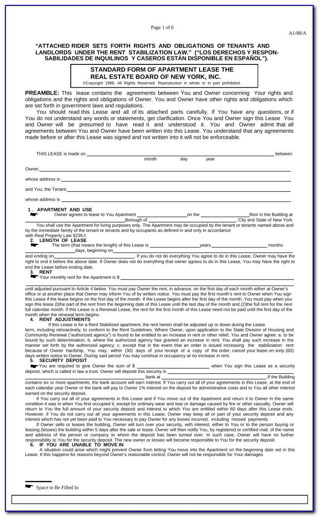 Ny Residential Lease Agreement Form
