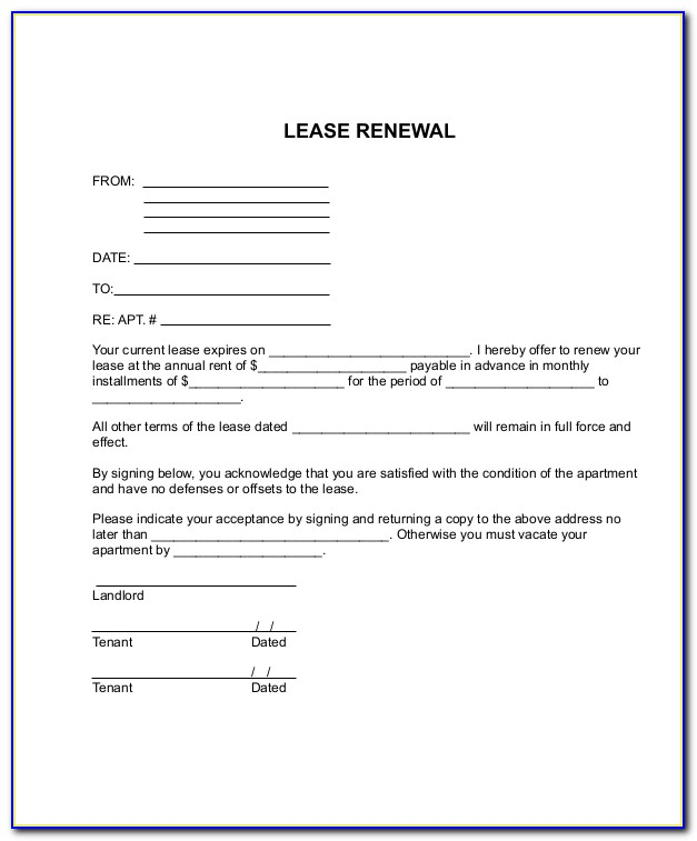 Nyc Lease Renewal Template