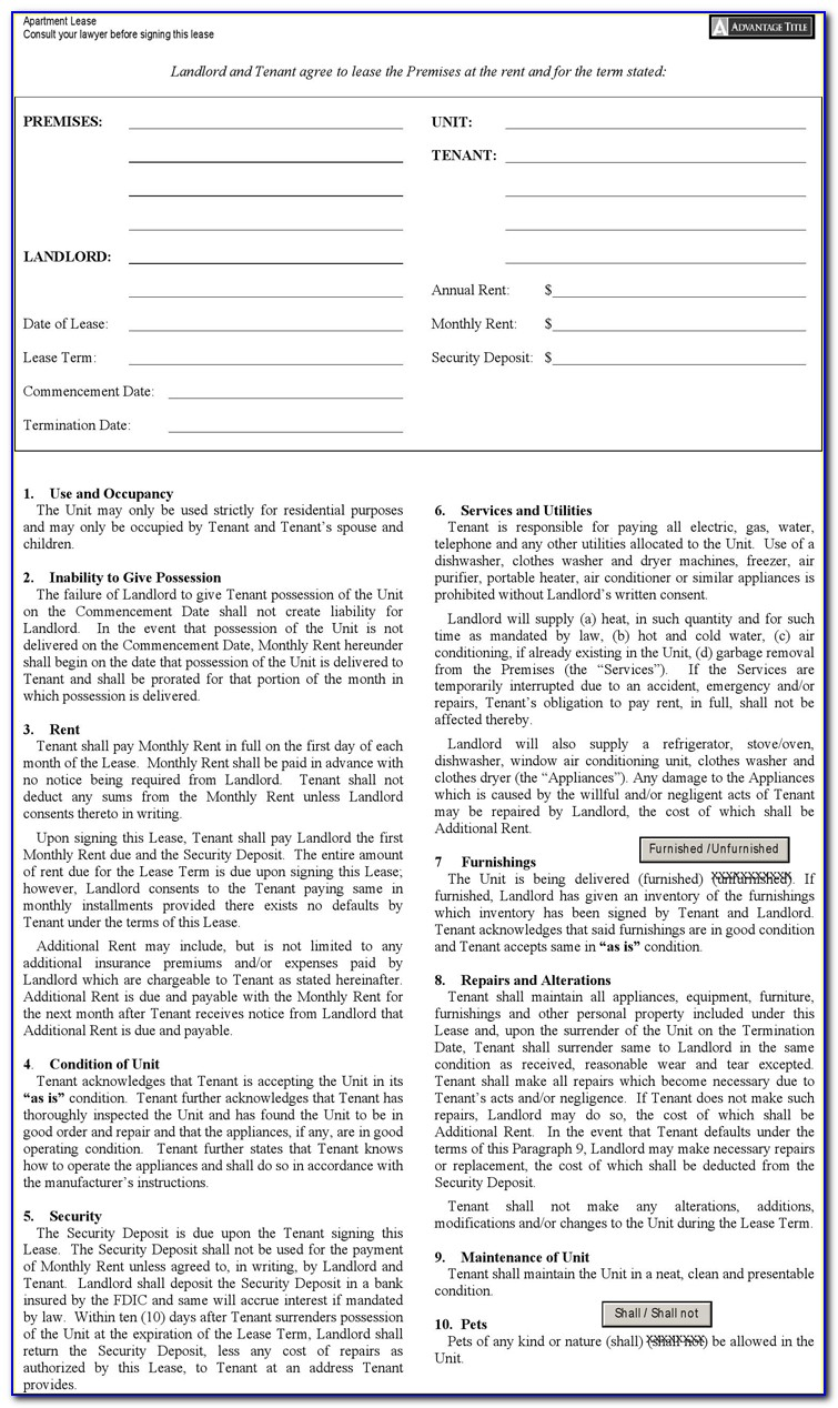 Nyc Standard Lease Renewal Form