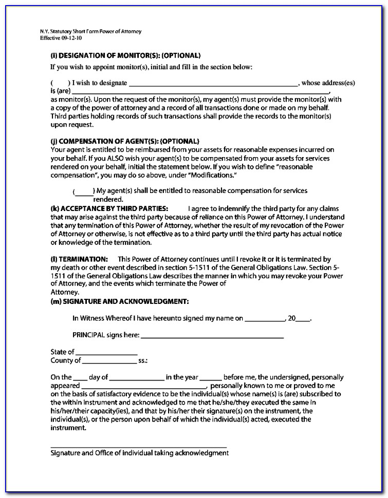 Nys Power Of Attorney Form 2017 Fillable