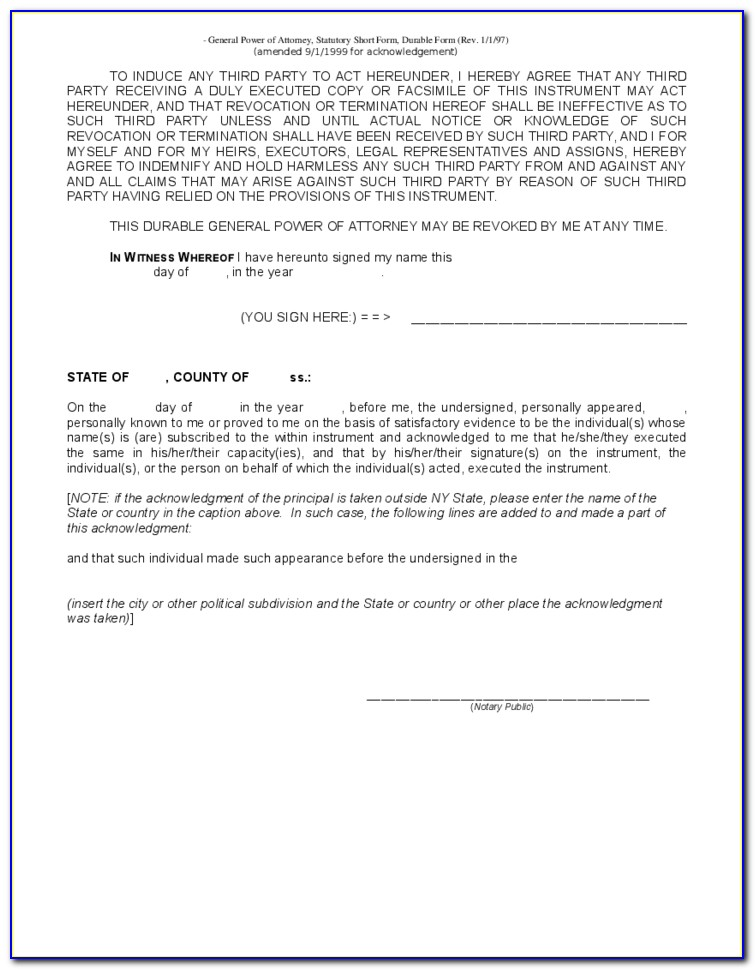 Nys Power Of Attorney Form Fillable