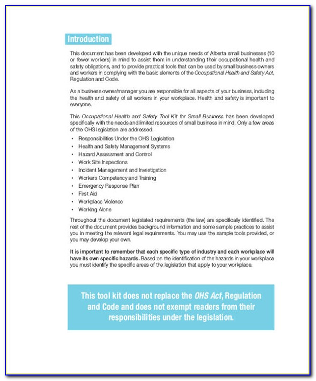 Occupational Health And Safety Act Forms