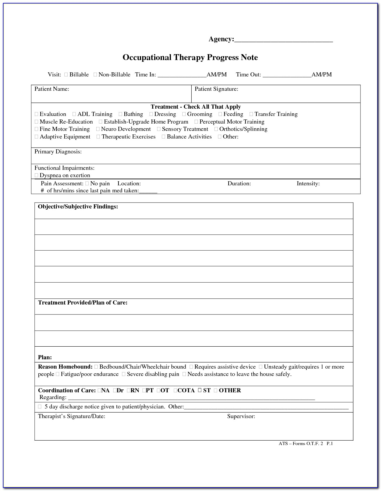 Occupational Therapy Progress Note Template