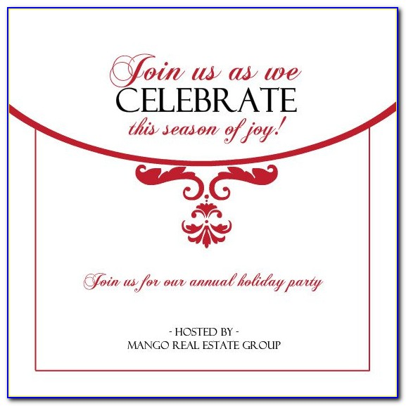 Office Christmas Party Invitation Wording Samples